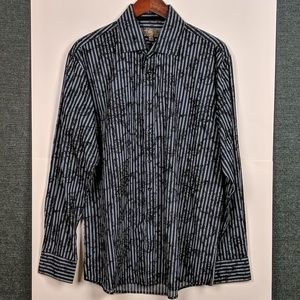 """Pronto Uomo Blue"" Striped Floral Shirt Blk & Wht"